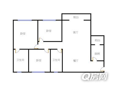 120三房一厅一厨一卫设计图